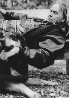 Neil Young and dog pal in 2005 Photo by Steven Sebring