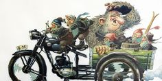 Gnomes and trolls discover motorcycles!