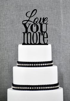 New to ChicagoFactory on Etsy: Love You More Wedding Cake Topper Custom Romantic Wedding Cake Decoration in your Choice of Color Modern and Elegant Cake Topper- (S054) (15.00 USD)