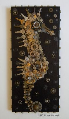 The Salvaged Seahorse - Recycled Assemblage - Free Shipping (USA)  This seahorse is made out of over 100 keys and lots of watch/clock parts. Im very excited about this assemblage. Ive been wanting to create a seahorse for awhile now and this was such a fun piece to make. A unique piece to hang in your home, office or classroom(or beach house).  Piece measures; 10 1/2 W x 23 H  Hanger attached, ready to hang.  Ships with UPS or USPS. Includes tracking and insurance.  Happy to ship…