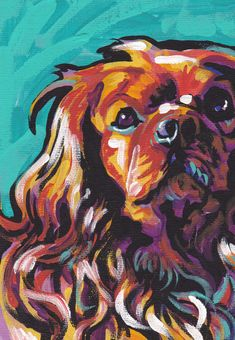 Ruby Cavalier King Charles Spaniel art print bright colorful Dog portrait art 8.5x11
