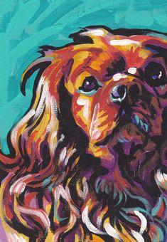Ruby Cavalier King Charles Spaniel art print bright colorful Dog portrait art 8.5x11