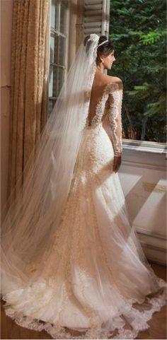 vestido de noiva manga longa com véu 4f00d3a53f6