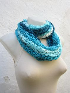 infinity scarf Finger Knitting Scarf Blue Turquoise White by nurlu, $14.00