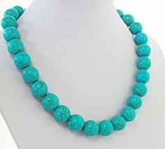 Bold Chunky Blue Turquoise Round Necklace Simple  by BijiJewelry https://www.etsy.com/listing/183378834/bold-chunky-blue-turquoise-round?ref=related-5