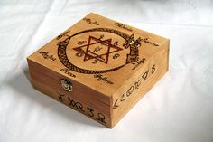Wooden box carved with alchemy patterns compartments case