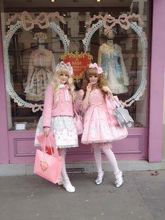 lovinglolisa:  domoarigateaux and I wore Imai Kira prints for exploring lolita shops