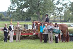 Jennifer Alfano with Jersey Boy and Miss Lucy in their awards presentation at Chicago Hunter Derby