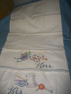 Vintage Pillowcase PR Cotton Blend Hand Embroidery His and Hers Top Hat Purse | eBay