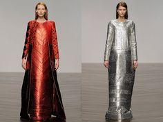 Sadie Williams designs futuristic gowns using metallic neoprene!