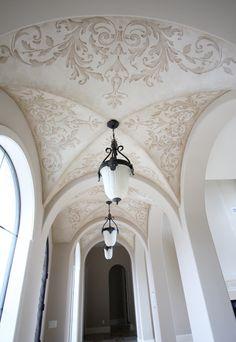 Sepia-toned Venetian Plaster with Modello pattern; Texas artist Nathalie Nielsen.