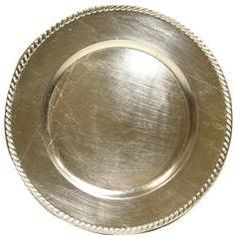 "13"" silver charger plates $1.99 at Hobby Lobby - they also have these in gold!"