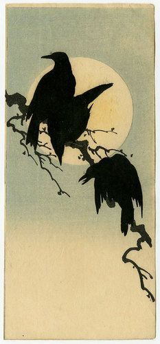 Shoda Koho Japanese Woodblock Print Crows and Full Moon 1910s