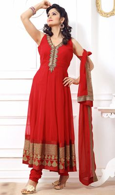 Elegant Red Georgette Long Length Anarkali Suit Manifest your women about town style dressed in this elegant red georgette long length Anarkali suit. This pretty attire is showing some remarkable embroidery done with bead, resham and stones work. #BollywoodAnarkaliSuits #OnlineFashionAnarkaliSuit