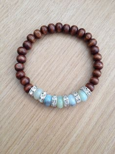 Wooden beaded bracelet with amazonite and rhinestone spacers, handmade jewelry