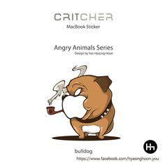 macbook sticker bulldog  angry animals