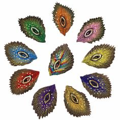 10Pcs Peacock Feather Iron On Patch Embroidered Applique Sewing Patch Clothes Stickers Garment DIY Apparel Accessories BT030