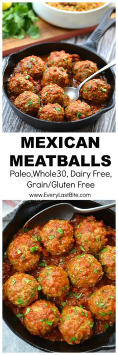 polpette rezept Meatballs that are packed with Mexican flavours including red onion, jalapeos, cilantro, cumin and chili and then smothered in a delicious chipotle tomato sauce. Dairy Free Diet, Dairy Free Recipes, Paleo Recipes, Mexican Food Recipes, Real Food Recipes, Cooking Recipes, Dairy Free Hamburger Recipes, Spanish Recipes, Lunch Recipes