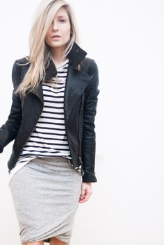 casual pencil skirt outfits, biker jackets, grey jersey skirt, jersey pencil skirt outfit, grey jacket outfit, leather jackets, jersey skirt outfit, leather jacket skirt, grey pencil skirt outfit