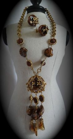 Vintage 50's Signed Miriam Haskell Russian Gold Tiger Eye Necklace Earrings Set #MiriamHaskell #Lariat