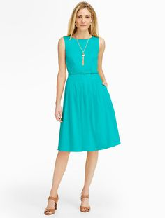 Talbots - Cotton Sateen Fit-And-Flare Dress | Events and Occasions | Petites
