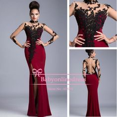 2014 Summer New Elegant Burgundy High Neck Appliques Lace Colorful Side Slit Woman Long Evening Dresses Mermaid For Party