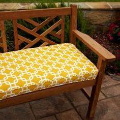 Penelope Yellow 48-inch Outdoor Bench Cushion- Geometric bench cushion
