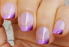 #Dainty #Frenchmanicure In #Purple Shades French Manicure Nails, French Manicure Designs, Nail Designs, Easy Nail Art, Nail Tutorials, Simple Nails, Lilac, Purple, Easy Diy