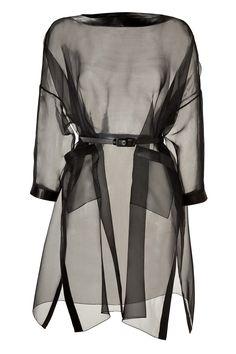 Black Silk Organza Belted Dress with Leather Trim by VALENTINO | Luxury fashion online | STYLEBOP.com