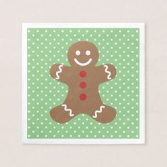 Gingerbread Man and Polka Dots Paper Napkin