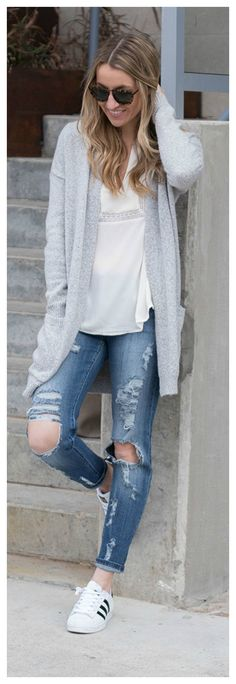 Distressed Denim and a Cozy Cardigan // Comfy Chic Style- Life By Lee