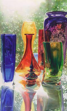 """Sundance"" Art Glass Watercolor Painting By Paul Jackson - (redbubble) Bottle Vase, Bottles And Jars, Glass Bottles, Perfume Bottles, Paul Jackson, Art Watercolor, Art Of Glass, Colored Glass, Decoration"