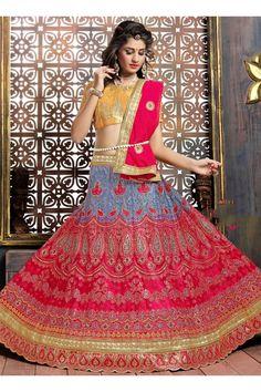 Pink Net Wedding Wear Embroidered Work Lehenga Choli