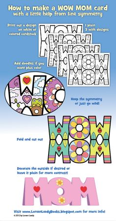 This picture shows the steps of making a WOW MOM Mother's Day card with line symmetry. : )