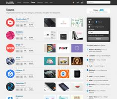 Dribbble's teams page, inspiration for the companies page