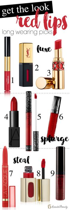 The Best Red Lipstick Shades – 15 Minute Beauty Fanatic Best long lasting red lipsticks or lip stains Red Lipstick Shades, Best Red Lipstick, Purple Lipstick, Lipstick Colors, Red Lipsticks, Lip Colors, Matte Lipstick, Colours, Red Makeup