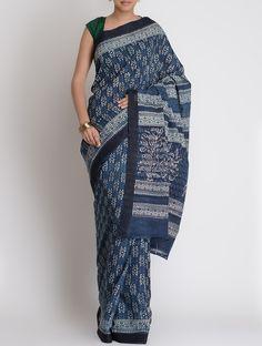 Indigo-White Mangalgiri Cotton Bagru Printed Saree