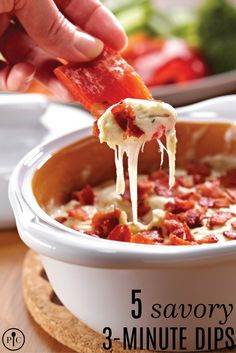 Use our Garlic & Brie Baker to make 5 savory dips in just 3-minutes. Start with cream cheese, mozzarella, milk and one of our rubs for 5 yummy dips: Bell Pepper Herb, Greek, Sweet Basil, Tex-Mex, or Three Onion