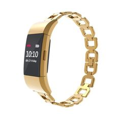 GOLD-STEEL-LINKS-Bracelet-Wristband-Band-Strap-Accessories-For-FITBIT-CHARGE-2
