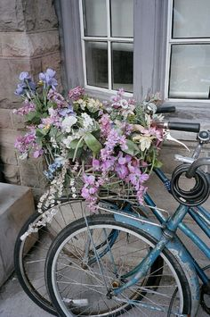 Flowers:  Bicycles with flowers.