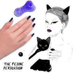 Get this black cat nail look with #FormulaX Nail Cleanser, Base Coat, Dark Matter, Kaleidoscope, and Top Coat. Read more on the #Sephora #Glossy! #Halloween