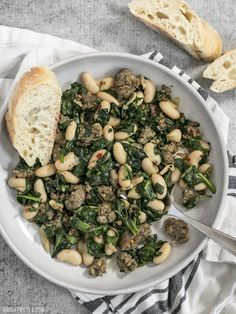 It doesn't get easier than this high protein, high fiber, high FLAVOR Italian Sausage and White Bean Skillet! BudgetBytes.com