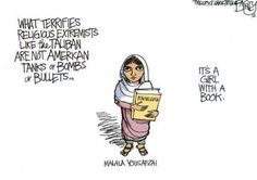 What terrifies religious extremists like the Taliban are not American tanks or bombs or bullets… it's a girl with a book. #Malala Yousafzai