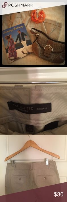 The Limited Cassidy Fit light tan Capris Tan Capris nice detail with the bottom of leg cuff and belt loops as well as buttons on the back. Excellent condition! For other items in the cover shot please see separate listings. Thanks for stopping by! The Limited Pants Capris