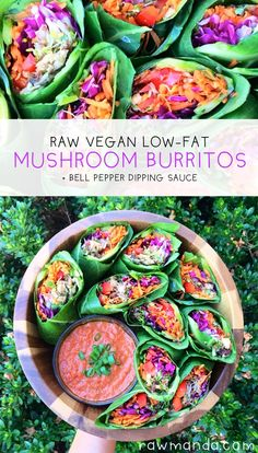 Spicy Mushroom Burritos + Bell Pepper Dipping Sauce - This raw vegan recipe can be made with any of your favorite veggies! Paired with a deliciously flavorful low fat bell pepper sauce.