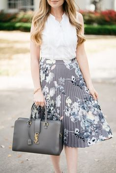 YSL Bag from Trendlee / Floral Pleated Skirt / Fashion / Spring Style / Outfit Ideas