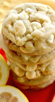 Lemon White Chocolate Chip Cookies That Are Soft, Chewy, Super Buttery With Crispy Edges! Ah YUM!!!