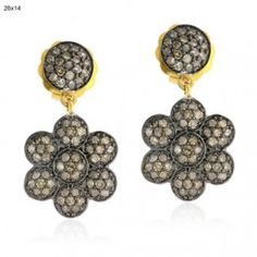 Pave Diamond 925 Sterling Silver Floral Design Dangle Earrings 14k Gold Jewelry