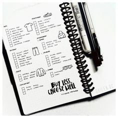 "Bullet Journal® wardrobe collection idea. A list I made featuring a minimal wardrobe. One thing I wanted to simplify for a long time. I have given away most of my clothes, since some are ill-fitting, and some are not age appropriate (lol, I had a few). I left those pieces I really love. And if ever I would add any to my wardrobe, as Vivienne Westwood said, ""Buy less, choose well."""