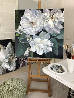 Jenny Fusca Gemälde – Hobbies paining body for kids and adult Peony Painting, Acrylic Painting Flowers, Art Floral, Art Sur Toile, Botanical Art, Beautiful Paintings, Art Oil, Painting Inspiration, Flower Art